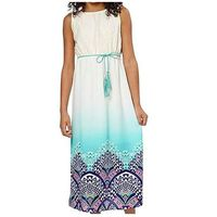 Paperdoll Maxi Dress for Girls (8, Ivory/Multi)