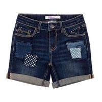 VIGOSS Girls' Jean Short, Patchwork, Size 8 Blue