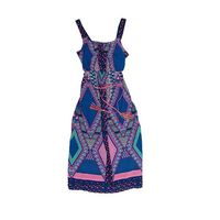 Paper Doll Sleeveless Maxi Dress for Girls  Braided Belt (14, Royal/Pink)