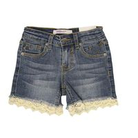 VIGOSS Girls Lace Crochet Adjustable Waistband Shorts Denim Size 12