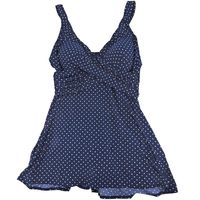 MiracleSuit Womens Body Swimsuit in Navy White Dots, Size 24W