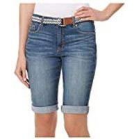 Bandolino Womens Riley Denali Medium Wash Blue Bermuda Denim Shorts, 18
