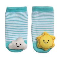 CUDDL DUDS SIZE 06M CLOUD AND SUN RATTLE SOCKS IN BLUE