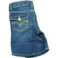 Levi's Toddler Girls Adjustable Waist Stretch Bermuda Jean Shorts In Denim Blue/Pink,  3T