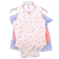 Carter's Girls 3 Pieces Bodysuit Top  Short Set In Blue Stripe White Polka Dot Pink, 3 M