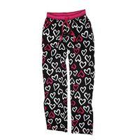 DKNY Women's Flannel Lounge Pajama Black Ground Heart Print Pants, Size Medium