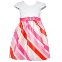 Jessica Ann Girl's Diagnal Stripe Party Dress In Coral, Size 4