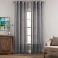 Cambria Terra Sheer 84Inch Grommet Top Window Curtain Panel in Gray