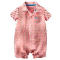 Carter's Baby Boy's Plaid ButtonFront Romper In Orange Plaid, Size 3M