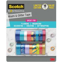 Scotch Expressions Washi & Glitter Tape, 16 Value Pack