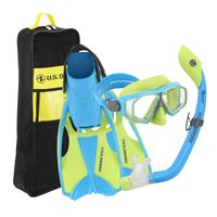 U.S. Divers Travelread Snorkeling Set for Kids In Green Blue, Small
