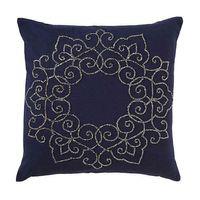 Traditional Medallion Square Throw Pillow in Indigo