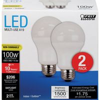 FEIT ELECTRIC 2PACK 100WATT EQUIVALENT A19 LED DAYLIGHT LIGHT BULBS