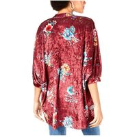 Project 28 NYC Womens Printed CrushedVelvet Kimono in Wine Floral, Size Small