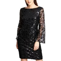 DKNY Womens Sequined Bell Sleeves Sheath Dress Black 8