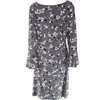 Lauren by Ralph Lauren Women's Dress Sheath Ruched Floral Gray 16