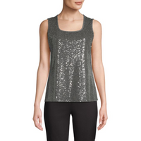 Kasper Sleeveless Sequined Top In Black Gold, Size XL