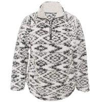 Member's Mark Women's Cozy Sherpa 1/4 Zip Pullover Ivory Black Jacket XXL