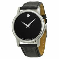 Movado Museum 2100002 Black Dial Black Leather Band Men's Watch