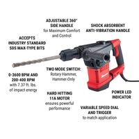Bauer 11 Amp 19/16 In. SDS MaxType Pro Variable Speed Rotary Hammer