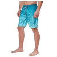 Kirkland Signature Men's Elastic Waistband Mesh Lined Swim Short Trunk in Teal Ocean Waves, Size Large