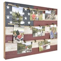 American Flag 18.75Inch x 34Inch 8Photo Collage Clip Picture Frame